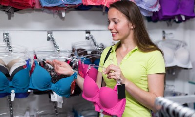 A woman chooses a bra.